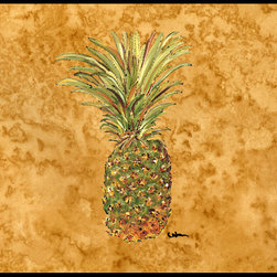 Caroline's Treasures - Pineapple Indoor Or Outdoor Mat 18X27 8654Mat - Pineapple Indoor or Outdoor Mat 18x27 8654MAT INDOOR / OUTDOOR FLOOR MAT 18 inch by 27 inch Action Back Felt Floor Mat / Carpet / Rug that is Made and Printed in the USA. A Black binding tape is sewn around the mat for durability and to nicely frame the artwork. The mat has been permenantly dyed for moderate traffic and can be placed inside or out (only under a covered space). Durable and fade resistant. The back of the mat is rubber backed to keep the mat from slipping on a smooth floor. Wash with soap & water.