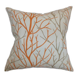 """The Pillow Collection - Fderik Trees Pillow Tangerine - Change up your interiors with this pretty accent pillow. This square pillow comes with trees print pattern in shades of orange and gray, which is set against a white background. This throw pillow is great for formal and casual settings. This 18"""" adds a modern touch to your living room, bedroom or kitchen. Made from durable materials, this throw pillow is made from 100% soft cotton fabric. Hidden zipper closure for easy cover removal.  Knife edge finish on all four sides.  Reversible pillow with the same fabric on the back side.  Spot cleaning suggested."""