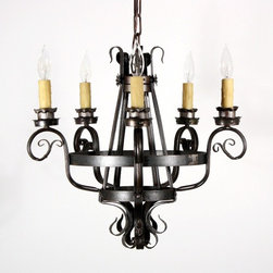 Antique Spanish Revival Lighting - Two matching antique wrought iron five-light chandeliers, dating from the 1930s and salvaged out of Louisville, KY. Price listed for each individual fixture; there are two available. Please check our website for currently availability.