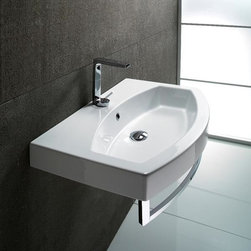 """GSI - Stylish Contemporary Rectangular Wall Mounted, Vessel, or Self Rimming Sink - GSI designed and manufactured this beautiful white ceramic sink in Italy. Stylish contemporary wall mounted, above counter vessel, or self rimming bathroom sink with curved rectangular profile. Sink includes overflow and is available with no faucet holes, a single hole (as shown), or 3 holes. Sink dimensions: 31.50"""" (width), 6.30"""" (height), 19.70"""" (depth)"""