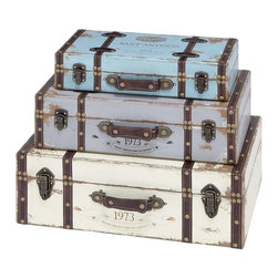 Benzara - Trunk with Exceptional Looks and Intrinsic Details - Set of 3 - Create an outstanding decor item with this Wood Trunk with Exceptional Looks & Intrinsic Details (Set of 3). This unique wood trunk combines extraordinary looks, artistic details and high functionality to create an outstanding decor item. A hint of sophistication is introduced with the rust accents that act as the epitome of creativity and appeal on this rug. The exceptional looks and effective charm are reflected from the excellent quality wood material that goes into making this designer rug. This trunk sports beautiful details that blend perfectly to create a magical aura around it. The intrinsic details and usability aspects make this trunk an ideal decor item to be flaunted around during the festive season to make the ambience livelier. The wooden build makes it soft and ticklish to the feet that hold the ground with a superior grip, preventing slips.