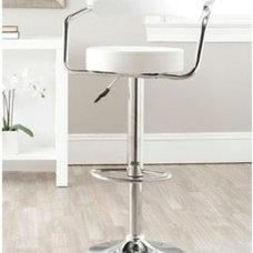 Safavieh Angus White Adjustable Height Swivel Bar Stool | Overstock.com
