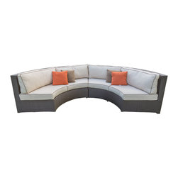 All Backyard Fun - Terrace Collection Curved Sofa Sectional with Sunbrella Fabric Cushions, Canvas - This wicker curved sofa from brings elegance, comfort, and durability to your outdoor seating area with a Chocolate colored resin wicker finish hand woven over heavy duty commercial grade, rust proof powder coated aluminum frames. This stunning modern wicker sofa sectional is made to last in any indoor or outdoor area and you will be sure to spend hours relaxing in its stylish and comfortable deep seating Sunbrella cushions.