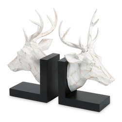 IMAX Worldwide - IMAX Worldwide Joseph Deer Bookends in White, Black (Set of 2) - The Joseph deer bookends make the perfect office gift for the avid outdoorsman, bringing a touch of the woodlands life they love into their every day.
