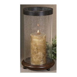 Uttermost - Matthew Williams Layla Candleholder - Designer: Matthew Williams. Antiqued candle included. Made of Metal, Wood & Glass. 9 in. W x 9 in. D x 16 in. HAntiqued hickory finished wood base with clear bubbled glass and olive bronze metal rim.