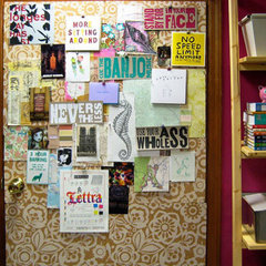 eclectic  Stenciled corkboard (via Design*Sponge sneak peek: elana of rosebud design)