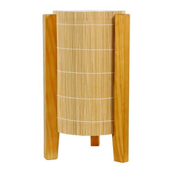 "Oriental Furniture - 13"" Kago Lamp - Honey - This hip Kago table lamp is made from solid wood and bamboo. The light is enclosed in a cylinder of woven bamboo matchsticks, mounted on three wooden legs. Minimal and modern, it makes a sophisticated accent for your living room or home office."