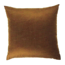"Canaan - 24"" x 24"" Silkish Bronze Silky Feel Fabric Throw Pillow - Silkish bronze silky feel fabric throw pillow with a feather/down insert and zippered removable cover. These pillows feature a zippered removable 24"" x 24"" cover with a feather/down insert. Measures 24"" x 24"". These are custom made in the U.S.A and take 4-6 weeks lead time for production."