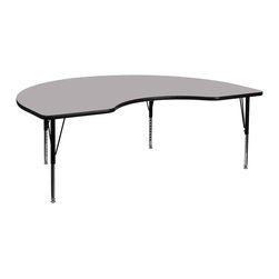 """Flash Furniture - 48""""W x 96""""L Kidney Shaped Activity Table with Adjustable Pre-School Legs - Grey - Flash Furniture's Pre-School XU-A4896-KIDNY-GY-T-P-GG warp resistant thermal fused laminate kidney activity table features a 1.125 in.  top and a thermal fused laminate work surface. This Kidney Shaped Laminate activity table provides a durable work surface that is versatile enough for everything from computers to projects or group lessons. Sturdy steel legs adjust from 16.125 in.  - 25.125 in.  high and have a brilliant chrome finish. The 1.125 in.  thick particle board top also incorporates a protective underside backing sheet to prevent moisture absorption and warping. T-mold edge banding provides a durable and attractive edging enhancement that is certain to withstand the rigors of any classroom environment. Glides prevent wobbling and will keep your work surface level. This model is featured in a beautiful Grey finish that will enhance the beauty of any school setting."""