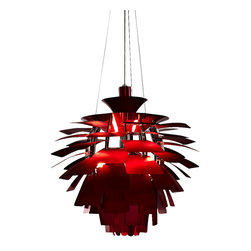 "LexMod - Petal 28"" Chandelier in Red - Elevate the heart and uplift the mind in a liberated release of light. The Petal Lamp is a study in perception stemming from the inner recesses of the soul. Reflect limitless possibilities and shower abundance as you diffuse light pleasantly with a striking classic for all times and settings."