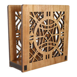 "Lightwave Laser - Frank Lloyd Wright Chauncey L. Williams Napkin Holder or Letter Holder - Perfect for dinner napkins or to hold the day's mail. The Frank Lloyd Wright design of this laser-cut cherry wood holder is adapted from a fretwork front door grille in the Chauncey L. Williams House, River Forest, Illinois. Dimensions: 6"" wide x 6"" tall x 2.5"" deep."