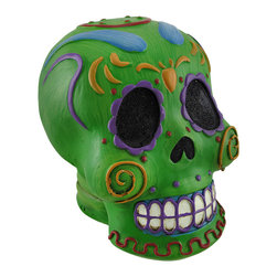 Zeckos - Bright Green Colorful Halloween Sugar Skull Statue - Halloween can be more than dark or gloomy, and this bright polystone Day of the Dead sugar skull Halloween statue will colorize your decor Carefully hand painted in green with blue, purple, yellow and red, this skull will certainly catch the eyes of anyone nearby It measures 5 7/8 inches high, 4 1/2 in. wide and 5 1/2 in. deep. This colorful skull would look great displayed near your candy dish, but just as attractive on a shelf or as a paperweight, and it makes a fun Halloween gift