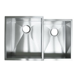 """Ariel - 33 Inch Stainless Steel Undermount 60/40 Offset Double Bowl Kitchen Sink - Spacious dual bowls make kitchen chores a breeze with this highly durable 18 gauge stainless steel sink. Exterior Dimensions: 33"""" x 20"""" x 10""""."""