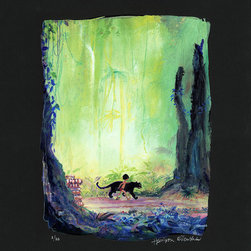 Disney Fine Art - Disney Fine Art Mowgli and Bagheera Premiere by Harrison Ellenshaw - Mowgli and Bagheera Premiere by Disney Fine Art  -  Medium: Chiarograph On Black Paper  -  Hand-Embellished and Hand-Signed by Harrison Ellenshaw  -  Image Dimensions: 15 x 12 - Paper Dimensions: 20 x 16  -  Edition Size: 30  -  Produced by Collector's Editions  -  Fully Authorized Disney Fine Art Dealer  -  Ships Rolled in a Tube  -  From The Walt Disney Motion Picture Jungle Book
