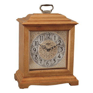 HERMLE - Ashland Mantel Clock With Mechanical Movement and Classic Oak Finish - American styled bracket clock in an classic oak finish