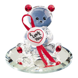 """Glass Baron - I Love You Glass Bear Figurine - Experience the beauty of Glass Baron. This Hand Made Glass Bear Figurine is accented by Red Swarovski Crystals and bares a most touching note. I love You.. And nothing portrays it more than this endearing handcrafted red bear on a round mirrored base. From our hand to your loved one's.. Present this gift on Valentine's Day, Birthdays or Anniversaries and make your treasured one feel special.  * Height 1.5"""""""