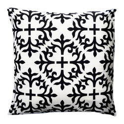 1414 Home - Modern Contemporary Geometric Cotton Pillow, Black, 20x20 - 100% cotton.  Hidden zipper closure.  Down insert.  Wash cold water.