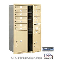 Salsbury Industries - 4C Horizontal Mailbox - 13 Door High Unit - Double Column - 13 MB1 Doors - Sands - 4C Horizontal Mailbox - 13 Door High Unit (48 Inches) - Double Column - 13 MB1 Doors / 1 PL5 and 1 PL6 - Sandstone - Front Loading - USPS Access