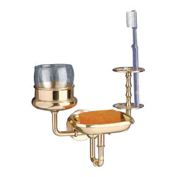 The Renovators Supply - Toohtbrush Holders Brass Toohtbrush Cup/Tumbler Holder 7H 8 Proj | 23010 - Toohtbrush Holder. This holds 6 toothbrushes, soap and tumbler (not included). Soap dish has removable strainer for easy cleaning. 8 inch projection.