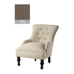 Home Decorators Collection - Custom Elaine Accent Chair - Perfectly sized to fit any room, the Custom Elaine Accent Chair is a terrific complement to your living room or bedroom decor. Spacious and comfortable, it's also a great place to read a book, take a nap, or snuggle with your furry friend. Maple and poly foam construction. Assembled to order in the USA and delivered in approximately 8-10 weeks.