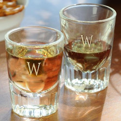 Monogram Fluted Shot Glasses - Set of 2