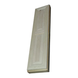 "WG Wood Products - 38"" Flint Series Narrow On-The-Wall Spice Cabinet 2.5"" Deep Inside - Narrow cabinet can mount in places where other cabinets won't fit - including on the side of a cabinet!  Mounts on the wall with built in cleats inside for an easy installation.  Five fully adjustable glass shelves.  Recessed white back panel hides the wall inside the cabinet.  Beautiful mitered raised panel door sits on concealed hinges, door is left undrilled for a knob or handle so you can mount it to open either direction.    Overall Measurements are 38h x 11w x  3 1/4""d.  You'll have nearly 2.5"" of depth inside the cabinet.  Natural pine finish can be painted or stained.  Solid maple doors. Proudly made in the USA."