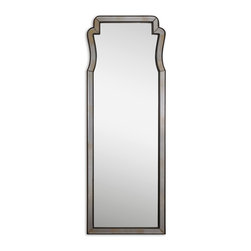 Uttermost - Belen Antique Dressing Mirror - Dangerous curves ahead! Hand-beveled with a mocha-accented frame, this mirror makes it hard to resist admiring yourself — and your style know-how. Its straight lines are sparked by a generous scallop that gives it just the right balance of curviness and structure.