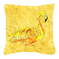 Caroline's Treasures - Flamingo on Yellow Fabric Decorative Pillow - Indoor or Outdoor pillow made of a heavy weight canvas. Has the feel of Sunbrella fabric. 14 inch x 14 inch 100% Polyester Fabric pillow Sham with pillow form. This pillow is made from our new canvas type fabric can be used Indoor or outdoor. Fade resistant, stain resistant and Machine washable.