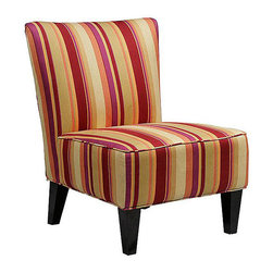 PORTFOLIO - Portfolio Hali Striped Wine Armless Designer Accent Chair - This Portfolio Hali armless chair features a bold striped fabric in wine, gold, fuchsia, orange and a hint of lime green that is durable and easy to maintain. Ideal for small spaces, this chair works great in dining rooms, bedrooms or living rooms.