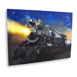 Zeckos - Flickering LED Locomotive Canvas Wall Hanging - This amazing canvas depicts a train's engine in the late evening light. It features flickering LED lights that really make it shine It measures 12 inches tall, 16 inches across and 3/4 inch deep. It easily hangs on the wall using a single nail or screw. The flickering lights are powered by 2 'AA' batteries (not included), are controlled by an inconspicuous on/off switch on the side of the canvas, and unsightly wires are concealed and contained by the vinyl backing. This piece would add excitement to the walls of any office, library or gathering room, and makes a great gift for locomotive enthusiasts
