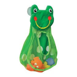 Toy Organizer on Suction Cups - Frog Shape Childish Green - This toy organizer is in polyester and vinyl and has a frog shape. This playful pocket is the perfect place to store all your child's favorite bath toys. This toy netted bag is easy to attach to your tile wall with 2 suction cups on the top. Color green. Ages 10 months and up. Organizer can be washed by hand and hung to dry. Length 15.4-Inch and height 12.2-Inch. This bath basket is useful to quickly store and to dry all bath toys. Complete your Childish decoration with other products of the same collection. Imported.