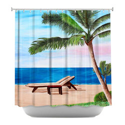 DiaNoche Designs - Strand Chairs on Caribbean Shower Curtain - Sewn reinforced holes for shower curtain rings. Shower curtain rings not included. Dye Sublimation printing adheres the ink to the material for long life and durability. Machine washable. Made in USA.