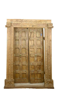 Sierra Living Concepts - Camelot Gothic Reclaimed Teak Wood Door & Frame - Now all you need is a drawbridge with our royal Camelot Gothic Reclaimed Teak Wood Double Doors with Door Frame. This gothic style entrance is built with solid teak, a premium hard wood famous for its fine wood grain and durability. This heirloom quality wood is ideal for the fine hand carved details you'll find in the door and ornate frame.