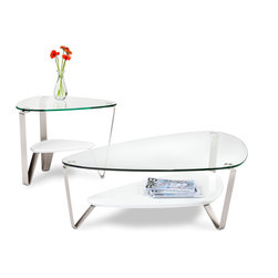 Dino Occasional Tables - A classic BDI design, the soft, triangular shape of the DINO tables makes them a versatile choice for a variety of settings and perfect for use with a sectional sofa. The tempered glass top and beveled lower shelf are securely attached to beautifully finished satin-nickel finished steel legs.