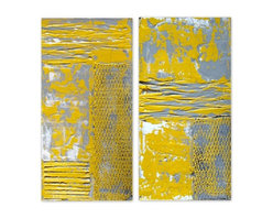 Yellow and Grey Abstract Painting Diptych by Holly Anderson Fine Art - HOLLY ANDERSON ART