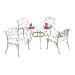 "Home Styles - Home Styles Biscayne 5PC 48"" Dining Table Set - Home Styles - Patio Dining Sets - 5552328 - Home Styles Biscayne 5PC Set includes 48 inch Round Outdoor Dining Table and Four Arm Chairs. Set is constructed of cast aluminum with a White Finish. Features include powder coat finish sealed with a clear coat to protect finish attractively patterned table top has center opening to accommodate umbrellas and nylon glides on all legs. Table Size:  48w 48d 30h Chair Size:  22.83w 21.65d 32.68h.  Seat height 15.5h. Stainless steel hardware."