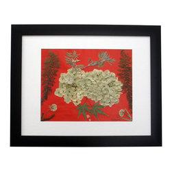 "Blossom On Red, Oshibana Art - Oshibana (pressed plants) artwork in a 12"" x 15"" black frame."