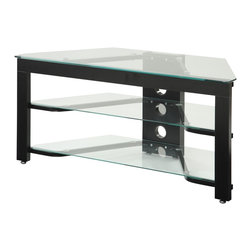 Convenience Concepts - Convenience Concepts Classic Glass Wood and Clear Glass TV Stand X-A10-VT - The modern design of this 3 Tier Wood and Glass TV/ Entertainment center is ideal for any contemporary home.