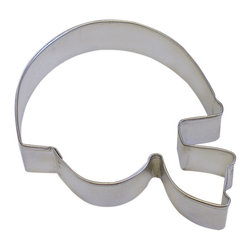 RM - Football Helmet Cookie Cutter - Football Helmet cookie cutter, made of sturdy tin, Size 4 in., Depth 7/8 in., Color silver