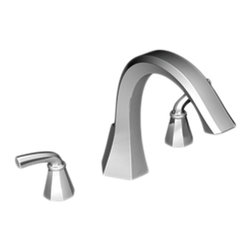"""Moen - Moen TS243 Chrome Roman Tub Trim 8""""-16"""" Two Lever Handles, ADA - The Felicity series features bold, sweeping horizontal lines and geometric forms, giving it a modern feel that enhances any refined decorating style."""