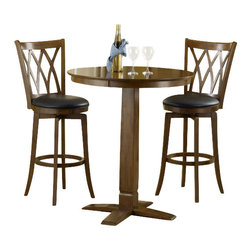 """Hillsdale Furniture - Hillsdale Dynamic Designs 3-Piece Pub Table Set with Mansfield Stools - Who says fabulous designer looks come only at designer prices? The Hillsdale furniture Dynamic Designs bistro collection offers any home owner the opportunity to add style to their homes without breaking the bank. The 36"""" diameter table is available  in either all brown cherry finish or in a two-toned brown cherry top with black base, lending itself to a myriad of looks as you choose the matching swivel stool that will best suit your home."""