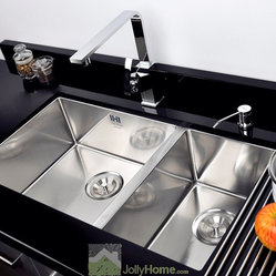 Silver Drop In Double Bowl Kitchen Sink Stainless Steel