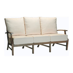 "Frontgate - Croquet Outdoor Sofa with Cushions, Patio Furniture - French Linen, Mahogany or Weathered finishes offer the appearance of fine wood. Generously proportioned durable aluminum frames accommodate plush outdoor cushions. Included Dream cushion's high density foam fill is crowned with a ""pillowtop"" of blown fiber. Cushions feature exclusive solution-dyed fabrics, created using only the finest materials and technology for longevity outdoors, including Sunbrella&reg. Slatted aluminum seat backs and tabletops. The Croquet Collection by Summer Classics&reg is the perfect embodiment of the lawn game made popular by 19th century European gentry. Frames are hand-welded in durable aluminum and finished to resemble fine wood. Luxurious Dream cushions enhance the experience of relaxing in this generously proportioned, all-weather furniture. . . . . . Dining tables include umbrella hole (table assembly required). Spring lounge features a smooth rocking motion. Double Spring Lounge has two independent rocking seats. Chaise adjusts to five positions. Note: Due to the custom-made nature of the cushions, any fabric changes or cancellations made to the Croquet Collection must be made within 24 hours of ordering."