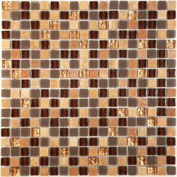"Euro Glass - 5/8"" x 5/8"" Brown Opulence Series Glossy and Frosted Glass and Stone - Sheet size: 11 7/8"" x 11 7/8"""