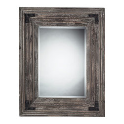 "Lamps Plus - Country - Cottage Staffordshore 18"" High Reclaimed Wood Wall Mirror - This elegant and organic rectangular wall mirror from Elk Lighting features Monterey reclaimed wood. The multiple edges of the frame give this wall mirror a great visual texture. Aged brown finish adds style to transitional or more casual decor. Beveled edge on glass adds a bit of sharpness. A handsome accent for your home. Brown finish. Monterey reclaimed wood frame. Beveled glass edge. Hang vertically or horizontally. 38"" high. 30"" wide. Mirror glass only is 25""x17"".  Brown finish.  Monterey reclaimed wood frame.  Beveled glass edge.  Hang vertically or horizontally.  38"" high.  30"" wide.  Mirror glass only is 25"" high 17"" wide."