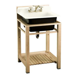 "Bayview Wood Stand Utility Sink - Dimensions: 25 1/2"" x 24"" x 18 5/8"". 11"" basin depth. Cast iron sink. Wood sink stand sold separately."