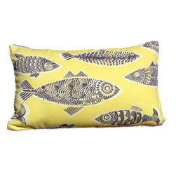 PillowFever - Lumbar Cotton Pillow Cover in Yellow with Sardines Print and White Pipping - Pillow Insert is Not Included.