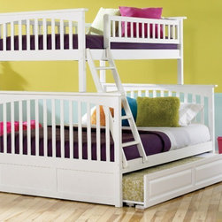 Columbia Bunk Full bed twin/full in White by Atlantic Furniture - The Columbia Bunk Bed is the perfect mission-style bunk bed for your children's bedroom. Available in twin-over-twin, twin-over-full, or twin-over-futon designs with railings on the top bunk, the sturdy Columbia Bunk Bed is constructed of solid hardwood. Add optional under-bed storage drawers or an optional trundle unit (neither option works with twin-over-futon style) under the bed to provide even more convenient space. The bunk bed comes with two modesty panels, which can be attached to both ends of the bunk bed to give the Columbia Bunk Bed a more grounded look. Available in Natural Maple, Antique Walnut, and White finishes, the Columbia Bunk Bed is sure to become your child's favorite sleepy-time fort.
