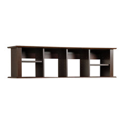 Prepac - Prepac Sonoma Espresso Wall Hanging Desk Hutch - Add storage space right where you need it with the wall mounted desk hutch. With its unique design and our innovative two-piece hanging rail system, this hutch has ample space for workspace necessities that just don't fit in your desk. Adjust the four shelves to accommodate books, binders, disks or even decorative items. This piece is a simple way to double your desk's storage without taking up valuable floor space.