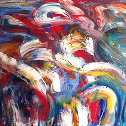 Abstract Art Acrylic Painting untitled #334 1990 - New York based artist Matthew Izzo (b. 1971) explores the process of art making through chance and random occurrences. Using a direct approach to his medium such as gestures and movement he creates exuberantly colorful abstract paintings which function as both a decorative element and as Fine Art. Izzo is influenced by action paintings of the Abstract Expressionists (USA) and the work of the Gutai group (Japan)